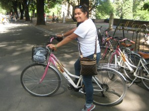 Mirella with her bicycle