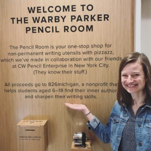 826michigan staff person megan gilson visits the warby parker pencil room