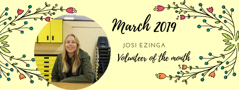 Josi Ezinga is our Volunteerof the Month!