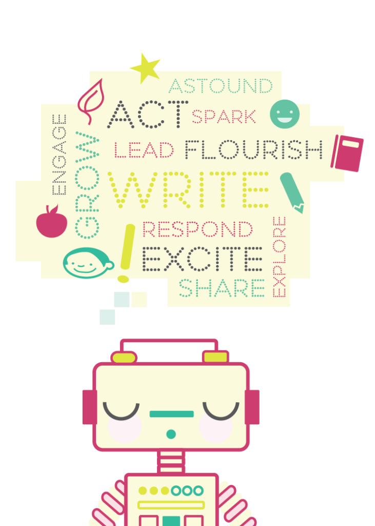 a robot is thinking and a delightful word bubble forms over their head. it reads, astound, act, spark, grow, engage, respond, excite, share, explore, flourish, lead, WRITE