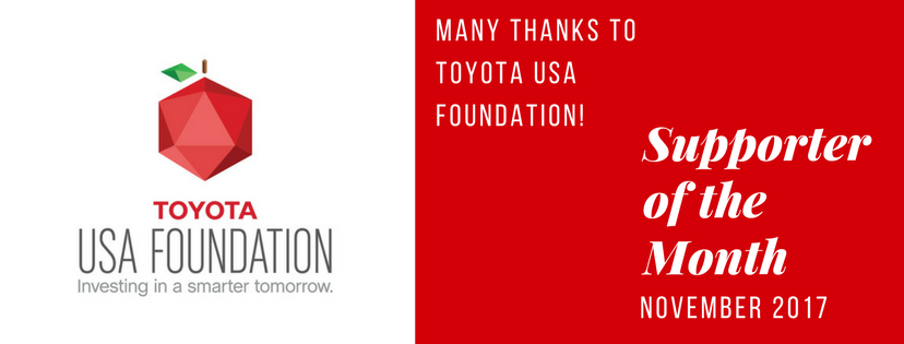 the Toyota USA Foundation is supporter of the month