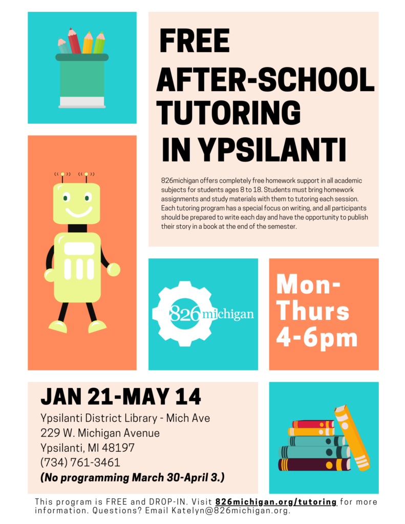 After-school tutoring runs Monday through Thursday from 4-6pm at the Michigan Ave branch of the Ypsilanti District Library.