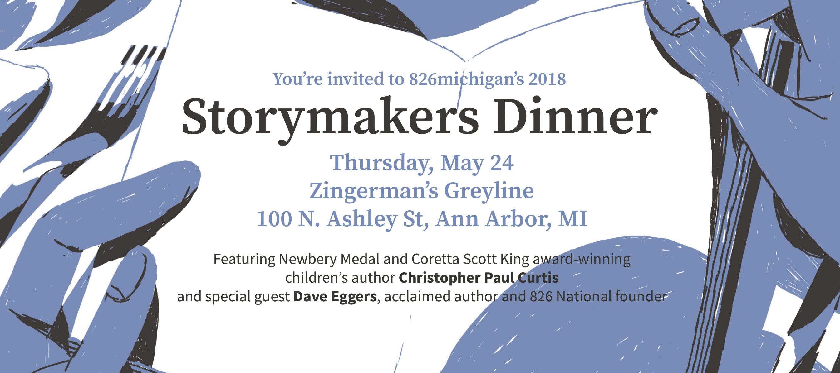 Join us for an evening of food, friends, and stories – all to benefit 826michigan free writing programs!
