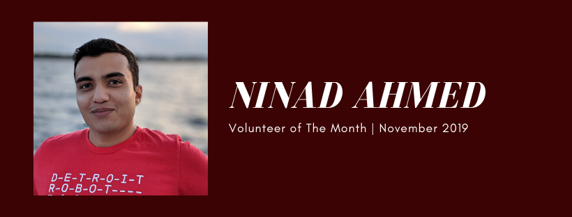 Ninad Ahmed, Detroit Robot Factory Robotier, is Volunteer of the Month!